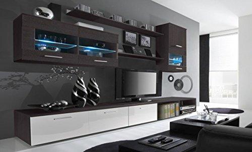 Home Innovation- Mobile soggiorno - Parete da soggiorno con LED, finiture bianco laccato e wengé,...