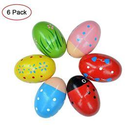 6 PZ Egg Shaker Toy Legno Percussioni Uovo di Pasqua Maracas Strumenti Musicali Educazione Precoce G
