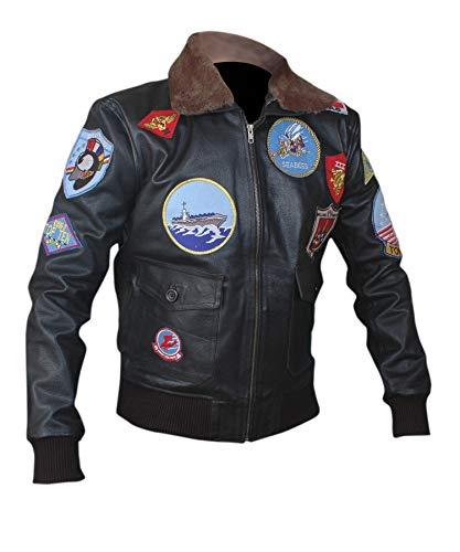 Flesh & Hide F&H Men's Top Gun Pete Maverick Tom Cruise Genuine Leather Bomber Jacket XL Black