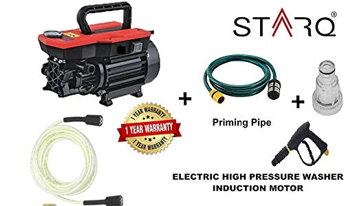 STARQ W3-B Electric High Pressure Washer with Copper Winding with Hose Pipe (21.5-inch, Multicolour, 1800 W)