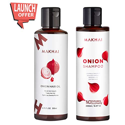 Makhai Onion Hair Oil and Onion Shampoo Combo with Red Onion Extract for Dandruff and Hair Growth 1  Makhai Onion Hair Oil and Onion Shampoo Combo with Red Onion Extract for Dandruff and Hair Growth 41IgjycgLuL