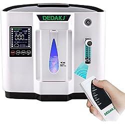 Vogvigo Portable Concentrador y generador de oxígeno 1-6L/min Oxygen Oxígeno de alta pureza Máquina Purificador de aire 90% de alta pureza para Hogar Hospital el coche y viaje (220V- Negro) … (Negro)