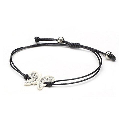 Pulsera Mariposa Ajustable (negro)–blanco Mariposa) fabricada con cristal y cable por Joe Cool