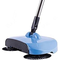 Hunpta Push Broom Teppichkehrer Haushalt Boden Kehrmaschine Praktisch mit rotierenden Bürsten Automatische Hand Magische Besen Reinigung Kehren Maschine Reiniger Roboter (Blau)