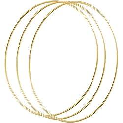 Sntieecr 3 Stück 25cm Gold Metallring Makramee Ringe Floral Hoops Ringe Kranz für Traumfänger, Floral Hoop Kranz Hochzeit Dekor und DIY Handwerk Basteln