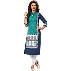 Ishin Women's Cotton Dress Material (Mjmhr-B-shli5-1513_Blue_One Size)