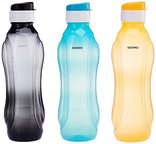 Amazon Brand - Solimo Plastic Water Bottle Set with Flip Cap (3 pieces, Multicolor, Wavy pattern)