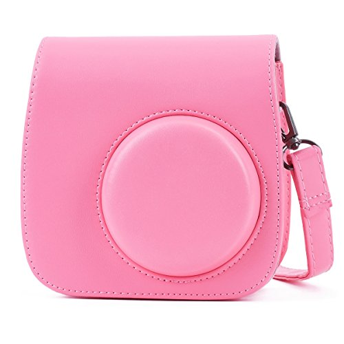 Leebotree Fujifilm Instax Mini 9 Tasche, Schutztasche aus Weichem Kunstleder mit Schulterriemen und Tasche für Fujifilm Instax Mini 8 8+/Mini 9 Sofortbildkamera (Flamingo Rosa)