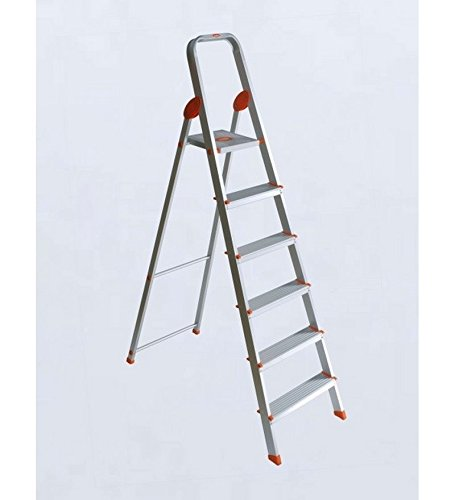 Bathla Advance 6-Step Foldable Aluminium Ladder with Sure-Hinge Technology (Orange)