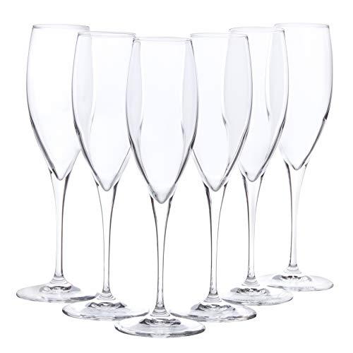 Bormioli Rocco - Set 6 Flute - Collezione PREMIUM Flute Champagne n° 3 - Capacità 26.00 cl. (8 3/4 oz) - Tecnologia Star Glass