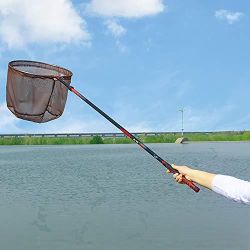 LOY Rete da Pesca Portatile - Guadino da Pesca Ultraleggero con Canna da Pesca Retrattile in Carbonio per la Pesca Sportiva,2.1m