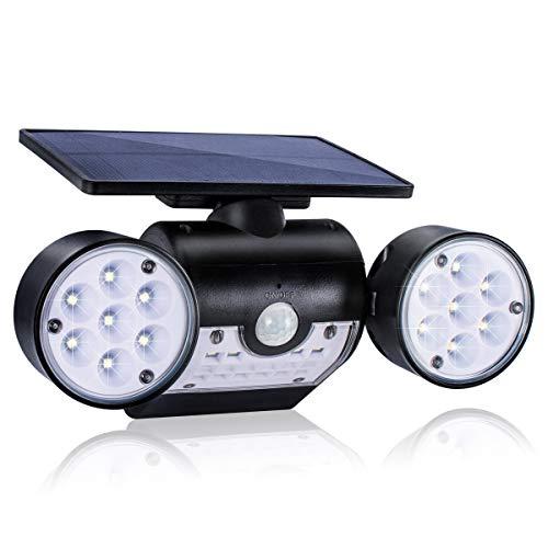 TEQStone Solarlampen für Außen mit Bewegungsmelder Solarleuchte 30 LED, IP65 Wasserdicht 360° Drehbarer Dual-Lichtkopf, 240 Lumen Aussen Wandleuchten für Terrasse, Garage und Garten