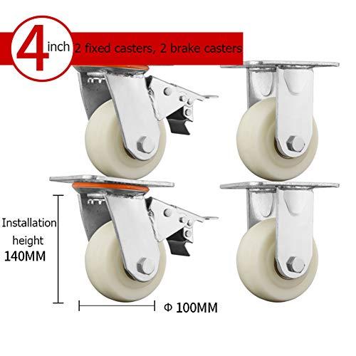 100mm/125mm/150mm/200mm Ruote Girevoli per Mobili con Piastra Superiore 360o, Ruote Industriali...
