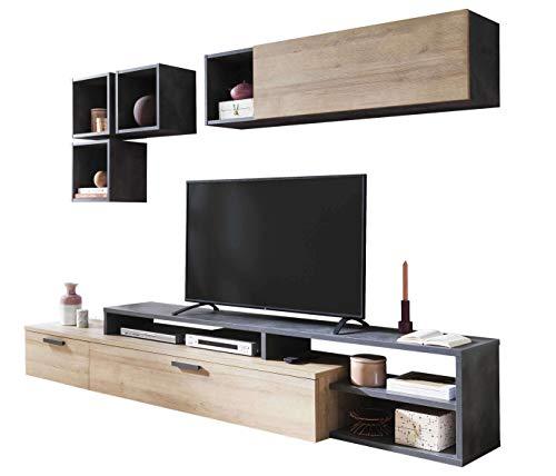 AVANTI TRENDSTORE - Colari - Parete da Soggiorno, composta da 1 Mobile TV, 1 pensile e 3 cubi da...