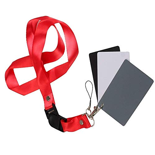 Kamron 3 in 1 Digital White Black Grey Balance Cards, Gray Exposure Card, Waterproof, Portable with Strap