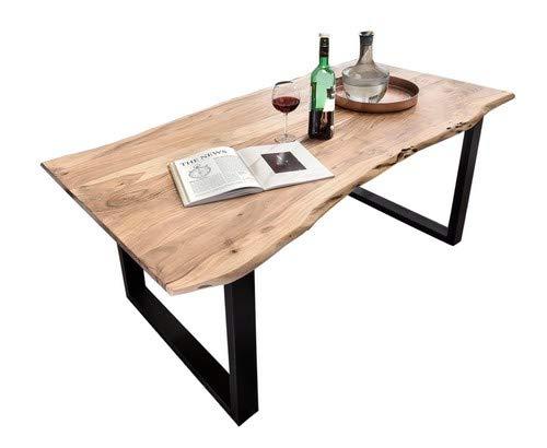 SAM Stilvoller Esszimmertisch Quentin 200x100 cm aus Akazie-Holz, Tisch mit schwarz lackierten Beinen, Baum-Tisch mit naturbelassener Optik