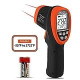 HoldPeak HP-2732 Termómetro Infrarrojo sin Contacto Pistola de Temperatura Láser Dual Digital -58 ℉ ~ 2732 ℉ (-50 ℃ ~ 1500 ℃), D: S=30:1, Retroiluminación, Emisividad Ajustable para Forja Fundición
