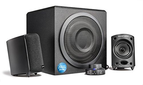 Wavemaster Moody BT 2.1 Lautsprecher System (65 Watt) mit Bluetooth-Streaming Aktiv-Boxen Nutzung für TV/Tablet/Smartphone/PC schwarz (66206) grau