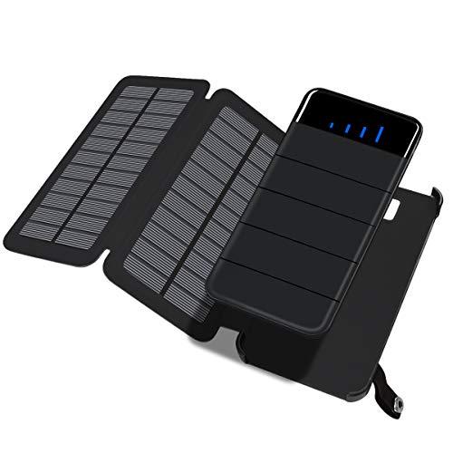 ADDTOP Cargador Solar 10000mAh, Desmontable Plegable 2Paneles solares Solar batería Externa portátil Power Bank con Dual USB para iPhone, iPad, teléfonos Android, Tablet, cámara, GPS etc.