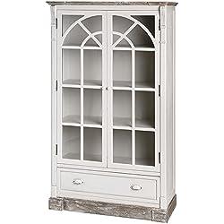 Hill Interiors New England glasiert Display Schrank, weiß antik/Limited braun