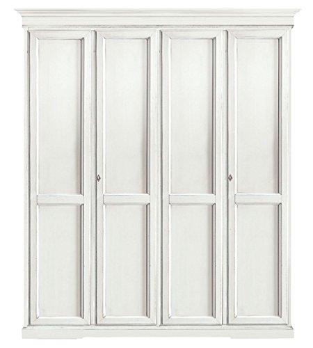 L'Aquila Design Arredamenti CLASSICO armadio Shabby Chic bianco 4 ante battenti guardaroba economico...