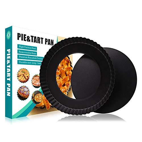 Baiyihui 8.8'' Round Tart Pan, Professional High-Carbon Steel Non-Stick Black Quiche Pie Pan with...