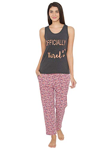 Clovia Women's Cotton Rich Printed Tank & Pyjama 4