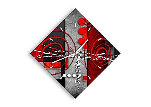 Orologio da Parete - Romboidale - Orologio su Vetro - Larghezza: 42cm, Altezza: 42cm - Numero dell'immagine 0599 - Movimento Continuo e Silenzioso - Pronto da Appendere - C3AD30x30-0599