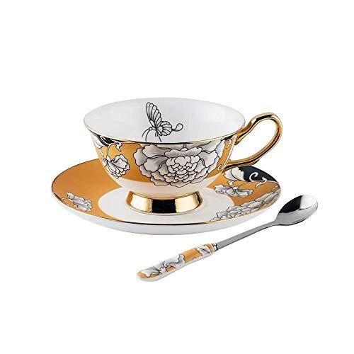 TongN-Tea Set Juego de Taza de té de la Taza de café de la Flor del Amor de la Mariposa, Taza y platillo de té Europeos de la Porcelana de café de la Taza de café para el Conjunto de la Familia