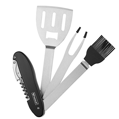 Traveler 5-in-1 BBQ Multi Tool Portable Grill Tool Set with Stainless Steel Spatula, Fork, Grill Brush, and More - Grilling Multitool for Backyard Grilling, Barbecue, and Camping