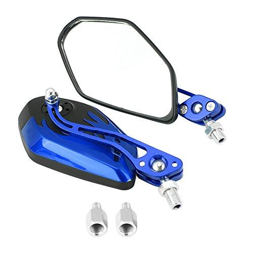 Keenso 1 Paar 8mm 10mm Universal Motorrad Rückspiegel Roller Aluminium Flamme Muster Seitenansicht Spiegel 1