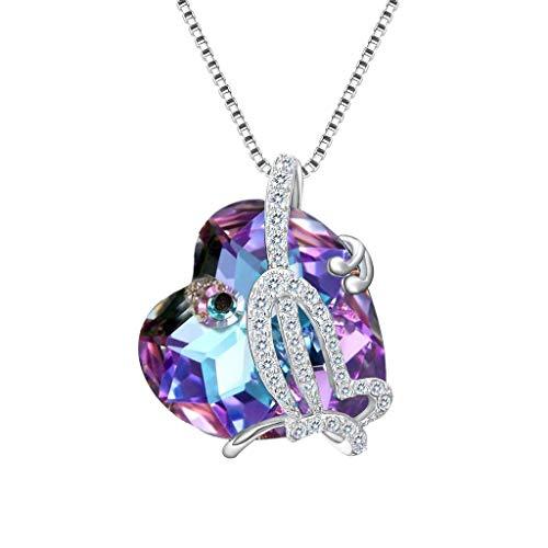 Clearine Mujer 925 de Plata Nupcial Boho Cúbica Zirconia Mariposa Corazón del océano Inspirado Swaroviski Cristal Collar Violeta
