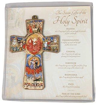 Legno appesa croce laser Cut Holy Spirit 13cm trasparente in acetato. 7doni dello spirito Santo