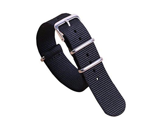 22mm morbide un pezzo cinturini per orologi stile NATO nylon Perlon uomini respirabili neri strisce di tessuto