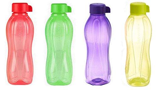 4x Tupperware Eco Safe Water Bottle (1litri. Ciascuna) colori assortiti