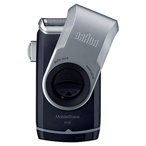 Braun PocketGo M90 Rasoio Portatile, battery, 3d contour following;pop-up trimmer;precision cutting system;precision trimmer;protection cap;rechargeable;travel lock