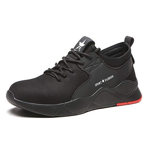 ZOEASHLEY Sicherheitsschuhe Herren Damen Arbeitsschuhe S3 Leicht Stahlkappe Sneaker, Schwarz-g, 40 EU