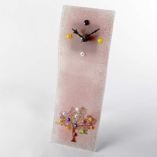 Orologio da Parete Albero della Vita Klimt Tribute - in vetro di Murano - Rosa