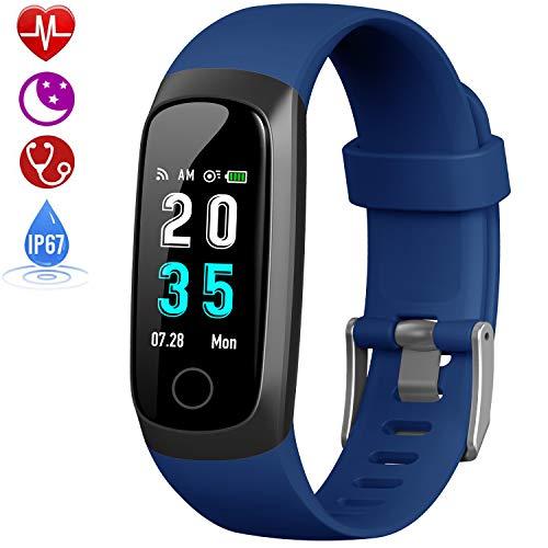 HETP Fitness Tracker, Orologio Fitness Braccialetto Pressione Sanguigna Cardiofrequenzimetro da Polso Impermeabile IP67 Smartwatch Uomo Donna Bambini Pedometro Contapassi per Samsung Huawei iPhone