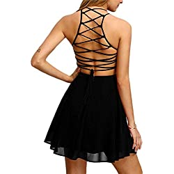 Hunputa Women's Chiffon Party Cocktail Backless Bandage Sleeveless Halter Short Mini Dress Beach Small Black