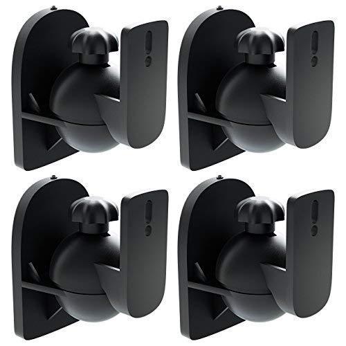 deleyCON 4x Supporti Staffe Universali per Altoparlanti e Casse Acustiche Girevoli + Inclinabili, Peso fino a 3,5kg Montaggio a Soffitto + Montaggio a Parete - Nero