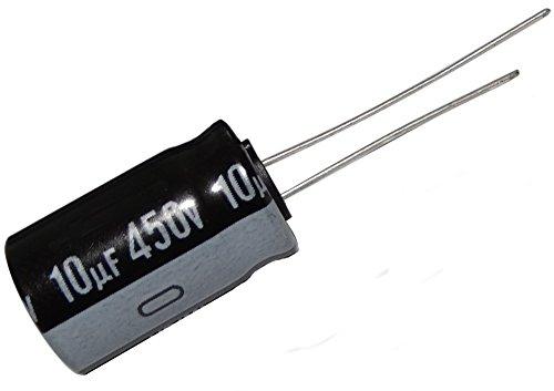 10 x Condensatore elettrolitico , chimico ,10µF ± 20% 450V THT 85°C 2000h Ø12.5 x 20 mm radiale .SK2-C12716-C282
