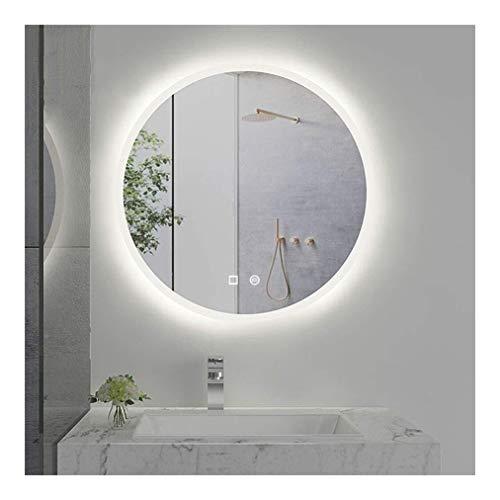 EGCLJ Illuminato Parete Bathroom Specchio, Specchio di Trucco di Warm White Lights, Intelligente Defogger, Button Dimmerabili Memory Touch, IP44 Impermeabile (Color : Warm Light, Size : 50cm(20inch))