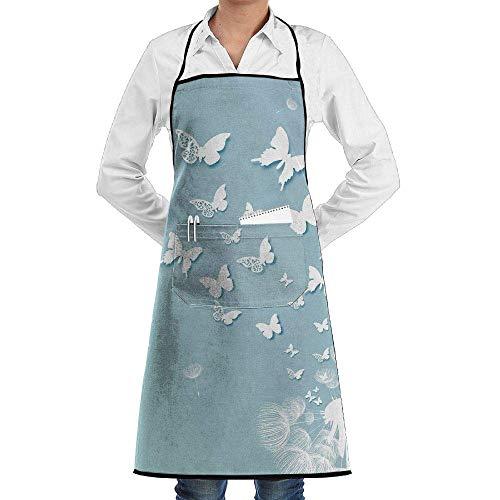 QIAOJIE Delantal con Bolsillos, diseño de Mariposas y Diente de león, Color Blanco