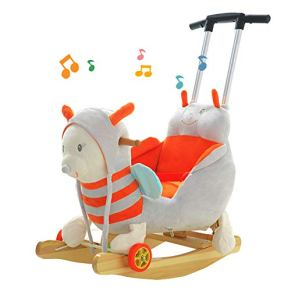WANGXN Baby Rocking Horse Woodenwith Música y Rueda para niños, niños, mecedoras, bebés, mecedoras