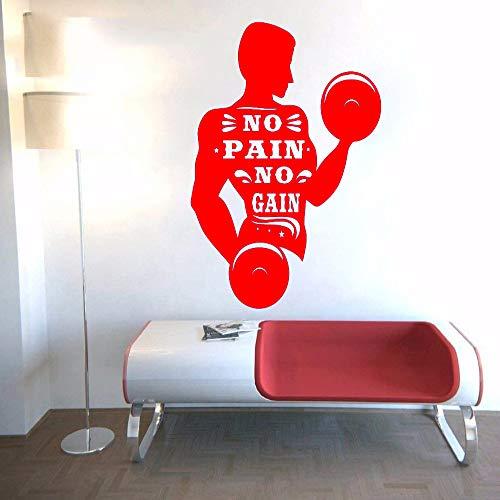 guijiumai Adesivo murale No Pain No Gain Fitness Man Dumbbell Picture Art Vinile Wallpaper Sticker...