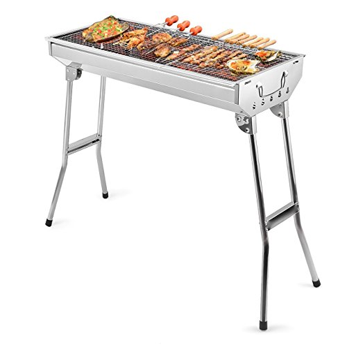 HOKIPO Stainless Steel Barbecue Charcoal Grill Folding Portable Tool Kits (AND006138)