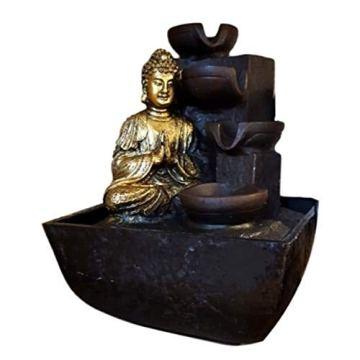 KERALA Fuente de Agua Interior con Buda meditando en Dorado, con Cascada de Piedra. con Bomba eléctrica. Tamaño 18X13,30 X13,30 cm 4