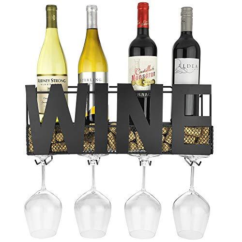 Thetford Design - Portabottiglie da parete in metallo con 4 supporti per bicchieri a stelo lungo e...