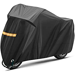 TOPVORK Funda para Moto, Impermeable Funda Protector Cubierta para Motocicleta 210D, Cubierta de la Moto Impermeable al Polvo y con protección UV con Bolsa de Almacenaje, Negro
